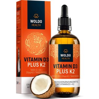 WoldoHealth - Vitamin D3 plus K2 Tropfen 50ml